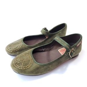 Lucky Brand olive green peace sign Mary Jane flats